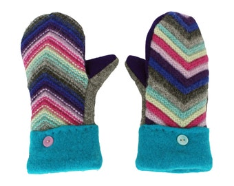 Kids WOOL Mittens - Girls Mittens Sweater Mittens Small Fits Ages 5-7 Sweater Mittens Pink Purple Gray Turquoise Blue Sweaty Mitts Chevron