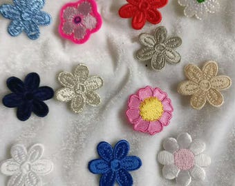 Wholesale bulk  Lot 12pcs     embroidered red Burgundy leave flower  sew on patch diy hair accessory 2-3cm
