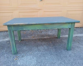 Rustic teal side table accent table shabby by for Teal coffee table