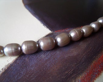 Freshwater cultured pearl silver gray BAROQUE bracelet