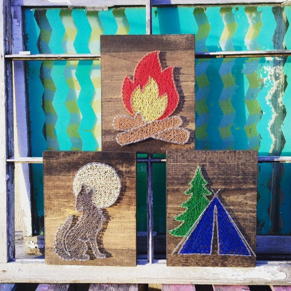 Like this item? & Camping Set of String Art Signs String Art Tent Campfire