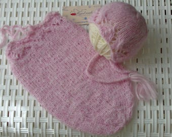 Newborn Set;Sack and Bonnet,Newborn Sack,Newborn Hat.Baby Sack,Photo Prop Sack.Knitted Sack.Beautiful Sack.