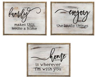 Rustic Wood Wall Art / Handmade / Family / Enjoy / Home