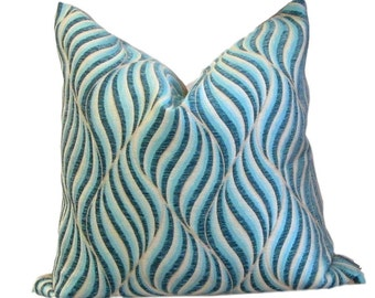 Williamsburg Collection Lancashire Turquoise Cut Chenille Pillow Cover