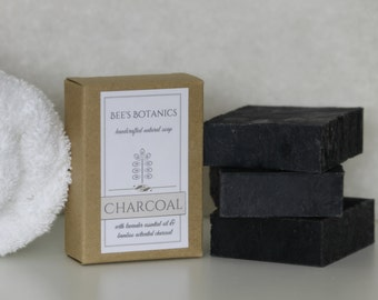 Charcoal Acne Soap, Beesbotanics Activated Charcoal Homemade Charcoal Soap, Charcoal Soap, Bamboo Charcoal Soap, Detox Soap, Artisan Soap