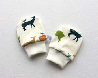 Organic baby mittens, baby scratch mitts, off white knit fabric with stags. Baby Gift Boy or Girl Hand Covers Gender neutral