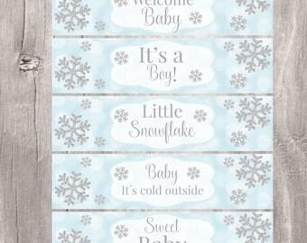Water Bottle Labels, Snowflake Baby Shower Printable Blue and Silver Labels, Instant Download, Baby Shower Winter Wonderland Labels