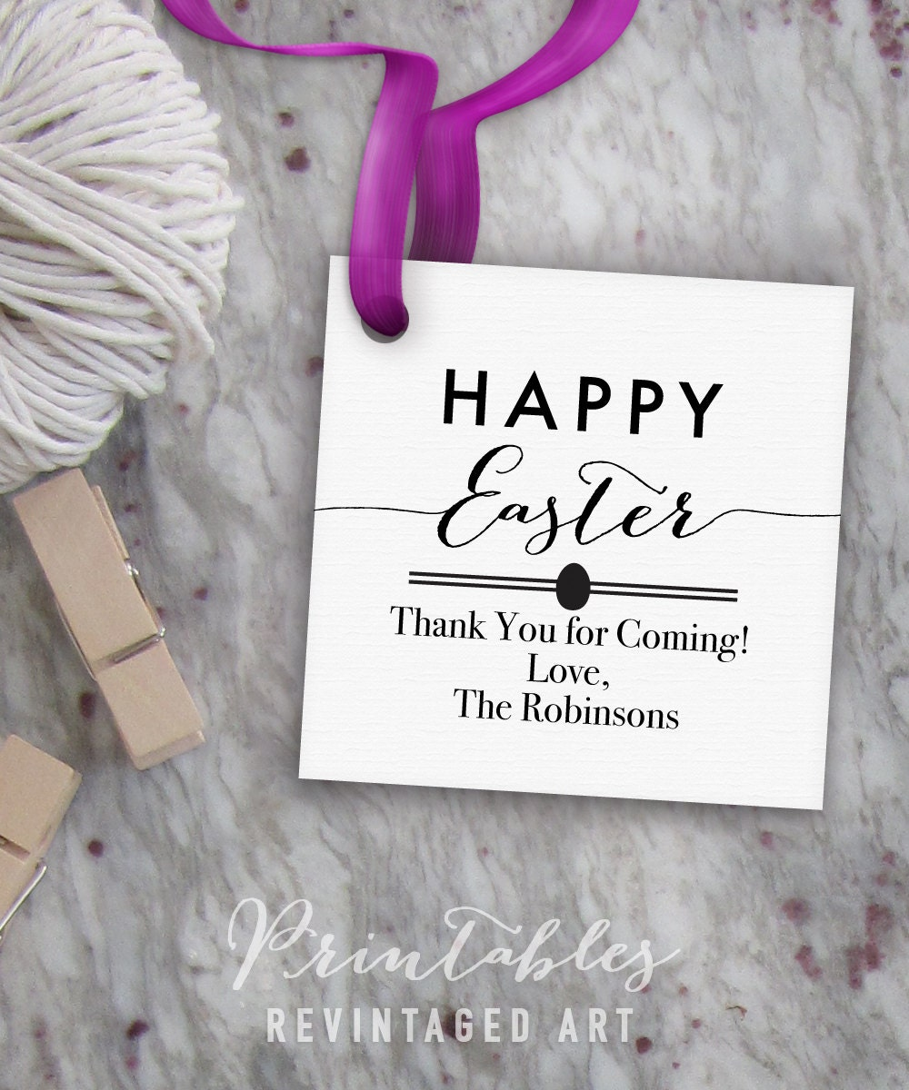Happy easter tags printable easter tag editable template diy this is a digital file negle Images
