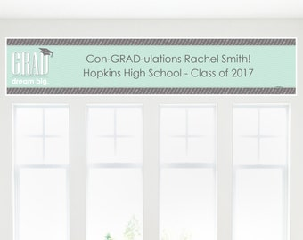 Con-GRAD-ulations - Mint Grad Party Banner - Custom Graduation Party Decorations