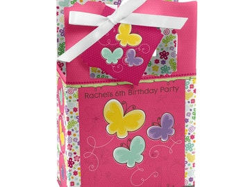 Butterfly and Flowers Favor Boxes - Custom Baby Shower and Birthday Party Supplies - Set of 12