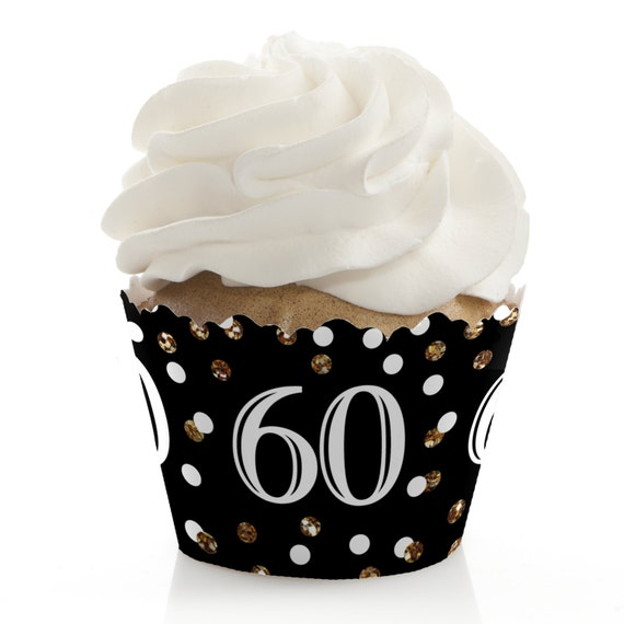 60th Birthday Cupcake Wrappers Birthday Party Cupcake Decorations