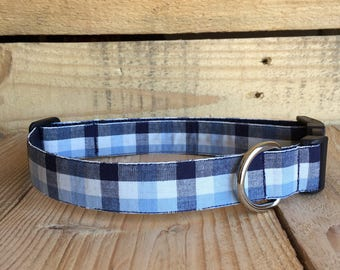 "Plaid Dog Collar, Blue Dog Collar, Quick Release Buckle, 1"" width"