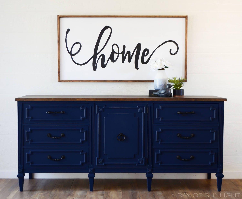 sold navy blue media console 6 39 ft triple dresser. Black Bedroom Furniture Sets. Home Design Ideas