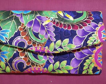 Floral - Quilted Front - Wallet/Checkbook/Phone Cover, Tri-Fold, Fabric, Clutch, Women's, Purse