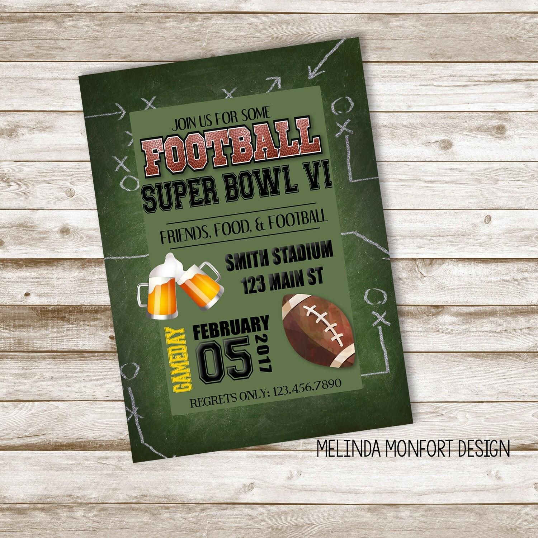 Super Bowl Party Invitation Football Invite Football Party