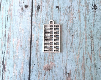 6 Large Abacus charms (2 sided) antique silver tone - silver abacus pendants, math teacher charms, math major charms, accounting charms, UU3
