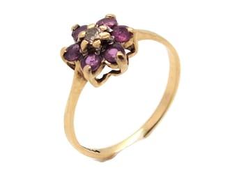 Ruby and Diamond Flower Ring, Ruby Rings Women, Womens Gold Ring, Diamond Rings Women, Gold Rings Women, Ruby Diamond Rings, Mother's Day