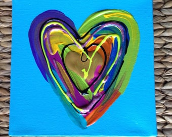 K. Vasek Whimsical Abstract Heart on 6x6x1 Stretched Canvas