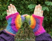 OOAK, colorful, psychedelic, multicolored, rainbow, crocheted, freeform crochet, hippie, boho, fairy, mitts, mittens, spirals.