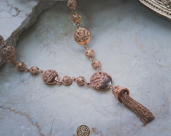 Songket Rose Gold Necklace / Balinese Songket Ornamentation / 925 Sterling SIlver / Rose Gold Plated / Fine Quality
