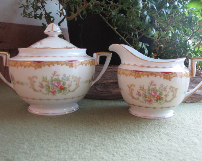 Noritake Lidded Sugar Bowl and Cream Pitcher Vintage Dinnerware and Replacements Set circa 1930s