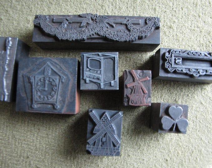 Old Metal Printer's Blocks Lot of Eight (8) Metal and Wood Based Printer Letterpress Circa. 1907
