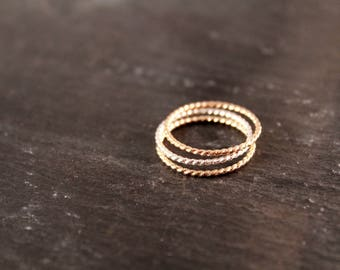 Rope Band Stacking Ring -  (Silver Gold Rose Gold Bridesmaid Wedding Gift for Her Gifts Under 30)