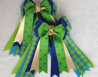 Hair Bows for English Horse Shows/Beautiful Blue Green Plaid