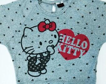 C.O.L.Z.A Hello Kitty Crew Neck Grey Sweatshirt Sport Trainer Sweater Hip Hop Size M  #SW442