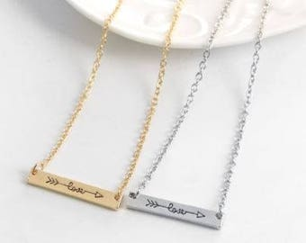 LOVE Minimalist Color Bar Necklace
