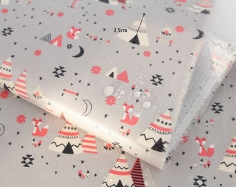 Laminated Teepee (Camp Tent) Pattern Cotton Fabric by Yard