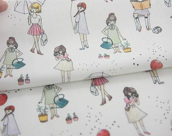 Little Girls Digital Printing Cotton Fabric by Yard