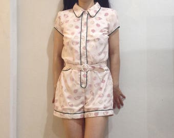 Kawaii, Lolita, Pink romper, Pastel clothing, Fairy dress, Retro jumpsuit, 50s playsuit, Retro housewife, Pinup clothing, Rockabilly, Kitsch