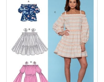McCall's Sewing Pattern M7563 Misses' Off-the-Shoulder, Gathered Top, Tiered Tunic and Dresses