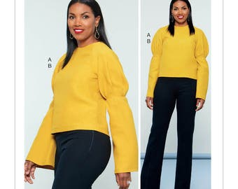 McCall's Sewing Pattern M7580 Misses' Puff Raglan-Sleeve Top and Straight-Leg Pants with Yoke