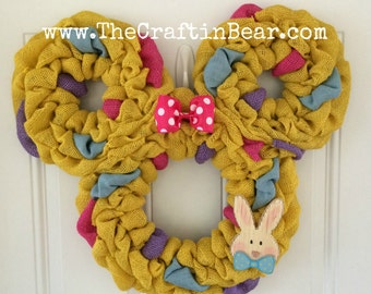 Easter Minnie Mouse wreath - Easter Minnie - Easter wreath - Easter burlap wreath - Mickey mouse wreath - Minnie Mouse wreath