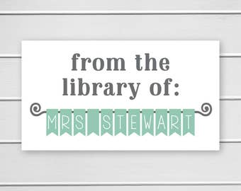 Teacher Classroom Library Book Stickers, Name Banner for Teacher Library, Teacher Identification Book Stickers (#406-1)