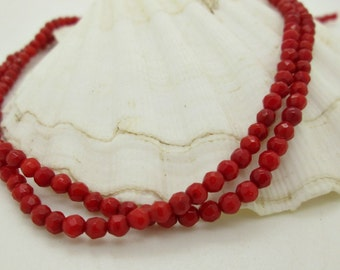 Tiny Red Coral Faceted Round Bead, Small Coral Bead, Red Coral, Faceted Coral Bead, 3-4mm (58)