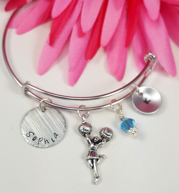 Cheer Charm Bracelets: Cheerleader Jewelry Cheer Bracelet Custom Hand Stamped