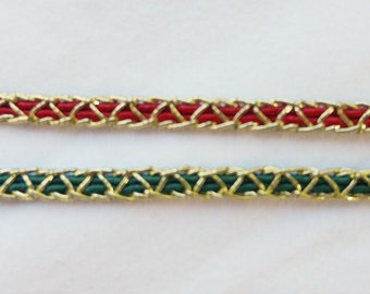 "3 1/2 Yards Vintage Red or Green and Gold braided 1/4"" Holiday Trim...a Fabulous Accent for all your Holiday projects!"