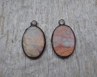 Medium Oval Soldered African Opal Stone Pendant