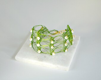 Leaf Green Cuff Bracelet with Shell Beads Details - Handmade
