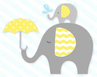 Elephant clip art, Baby elephant clipart, Elephant clipart, baby shower clip art, Gray and Yellow Elephant, Commercial Use, INSTANT DOWNLOAD