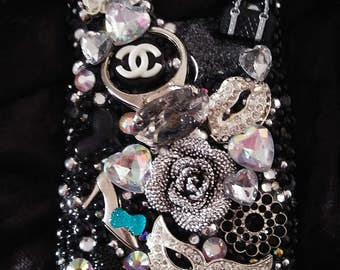 Completed Note 5 Silver and Black Bling Beautiful Handmade Homemade Case Rhinestone