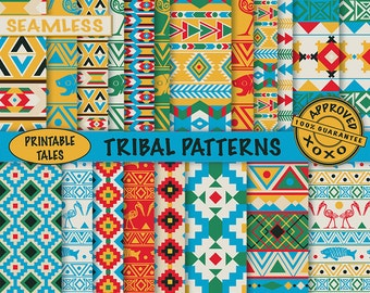 Tribal Digital Papers African Aztec Native American Boy Scrapbook Pages Seamless Birds Fish - Matching Clipart Available - Commercial use