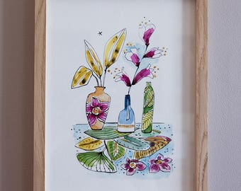 Illustration Watercolour vases and leaves on paper fine ar