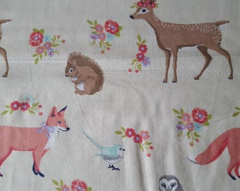 Sweet Forest Creatures Flannel Fabric Sold by the Yard