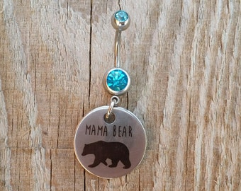 Mama Bear Belly Button Ring, Mother Belly Navel Ring, Belly Button Jewelry, Mom Navel Piercing, Body Jewelry, 14g Curved Barbell.