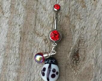 LadyBug Belly Button Ring, Ladybug Jewelry,  Navel Ring, Summer Jewelry, Red Lady Bug Jewelry.