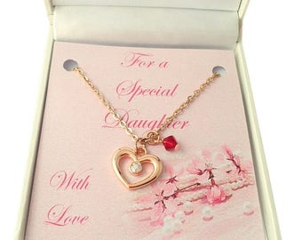 Rose Gold Birthstone Necklace with Heart Pendant. Gift for Daughter, Sister, Friend etc